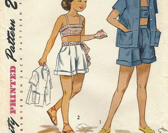1940s Simplicity 2857 UNCUT Vintage Sewing Pattern Girls Shorts, Bra Top, Beach Shirt or Jacket Size 7