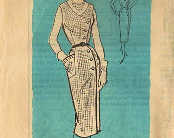 1950s Mail Order 4631 Vintage Sewing Pattern Misses Slim Wrap Dress, Sheath Size 14 Bust 34