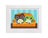 36 Owl Print - Owls on Sofa Wall Art - Owl Decor - Owl Gift - Owl Wall Art - Anniversary Gift - Owl Home Decor - Owl Lover - Owl Artwork