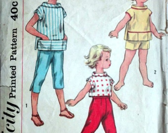 Vintage 50's Simplicity 2061 Sewing Pattern, Child's Pedal Pushers, Shorts and Pullover Shirt in Two Lengths, Size 4