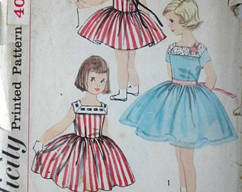 Child's One-Piece Dress, Simplicity 2518 Vintage 50's Sewing Pattern, Size 3