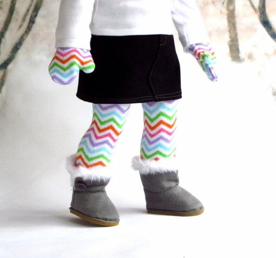 Chevron Stripe Thigh High Socks and Matching Mittens, Handmade to fit 18 inch dolls like American Girl