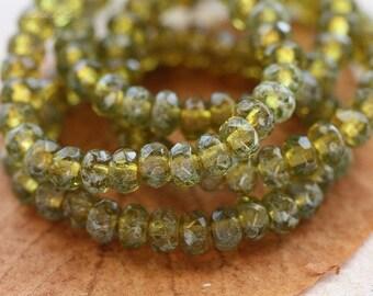 SOUR APPLE BITS .. 30 Premium Picasso Czech Rondelle Glass Beads 3x5mm (4473-st)
