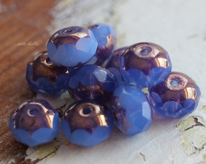 ELECTRIC .. 10 Premium Czech Picasso Rondelle Glass Beads 6x9mm (5307-10)