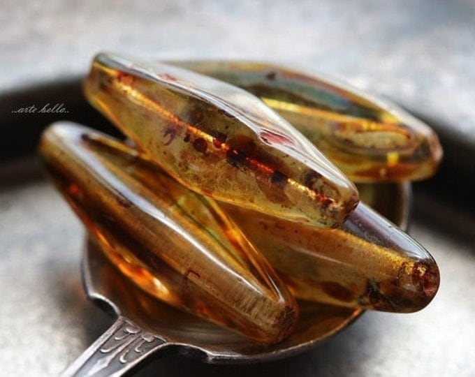 AMBERSICLE .. 4 Premium Picasso Czech Glass Beads 25x7mm (5185-4)