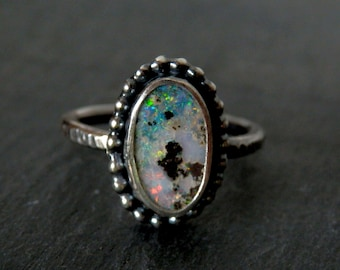 Australian boulder opal ring / rainbow flash / opal ring / opal jewelry / October birthstone / size 7 ring / boulder opal jewelry