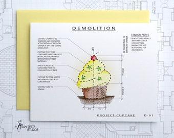 Project Cupcake - Birthday Architecture Demolition Card