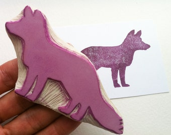 Fox silhoutte stamp, hand carved rubber stamp, diy gift tags, diy party invitations, handmade supplies