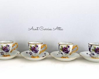 Demitasse Set Violet Design Edged with Gold Trim 6 Cups 4 Saucers Child's Tea Party Set