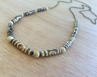 N301 Wood and Riverstone Necklace