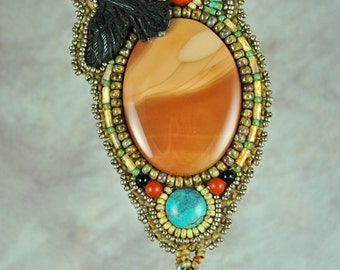 Necklace, bead embroidery, beaded,bruneau jasper, raven, horn, one-of-a-kind necklace