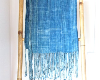 Vintage African Solid Indigo Mudcloth Textile Throw with Fringe