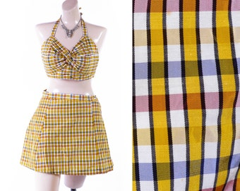 Vintage 40s Bikini // 1940s Bikini // 40s Swimsuit // 1940s Swimsuit // Taffeta Plaid Halter Bikini - sz S - 27 Waist