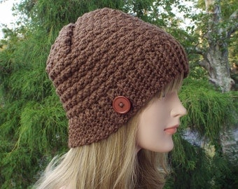 Womens Beanie, Chocolate Brown Crochet Hat, Winter Hat with Button, Ski Hat, Textured Hat, Winter Accessories