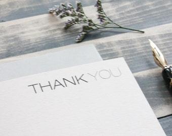 Modern Thank You Card Set   Minimalist Stationery   Masculine Stationary - Laura