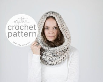 Crochet Pattern / Chunky Cowl Scarf, Tube Cowl, Shawl Hood, Thermal / THE TOK