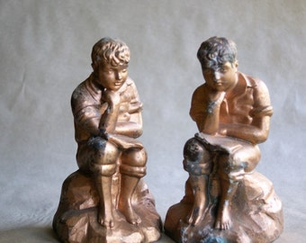 Vintage Boy Thinking Bookends, Cast Pot Metal with Worn Gold Finish, Library Decor Boys Room Decoration