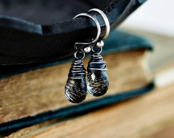 Tourmalinated Quartz, Quartz Earrings, Tourmalinated Black, Modern, Minimal, Sterling Silver, Drop Earrings, Dangle Earrings, PoleStar