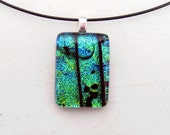 Fused Glass Jewelry | Geometric Necklace | Minimalist Pendant | Simple Fashion Art | Blue Green Glass | Zen Tranquil | Dichroic