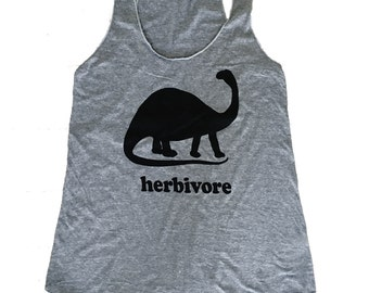 Herbivore Dinosaur Tank Top - Dino Vegan Vegetarian Sleeveless Shirt - (Ladies Sizes S, M, L,)