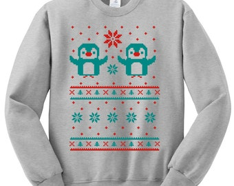 Chrimstas Penguin Crewneck Sweatshirt - Ugly Christmas Sweater - Unisex Sizes S, M, L, XL - SALE