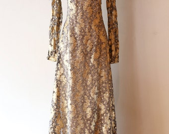 Vintage 1970's George Stavropoulos Silk Evening Gown ~ Vintage 70s Gold Lame Silk Chiffon Party Dress Size Large