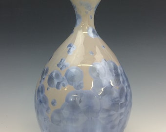 Crystalline Glazed Teardrop Vase in Light Blue and Purple
