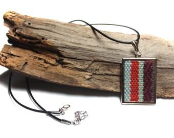 SALE Woven Ruby Pendant Necklace   Handwoven Boho Jewelry   pidge pidge Tapestry Necklace   Macrame Textile Pendant   Textured Fiber Art A67
