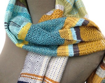 Charlotte | Woven Boho Chic Scarf | Handwoven Riverside Striped Scarf | Weaving Loom Modern Accessories | Saffron Colorblocked Scarves | H60