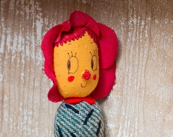 Doli Prickly Pear Flower. One-of-a-kind handmade art doll. Soft sculpture. Collectible Waldorf Doll. Anthropomorphic Wild Flower Doll.