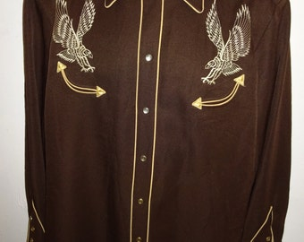 Classic Vintage Two Tone Rockabilly Western Shirt M/44""
