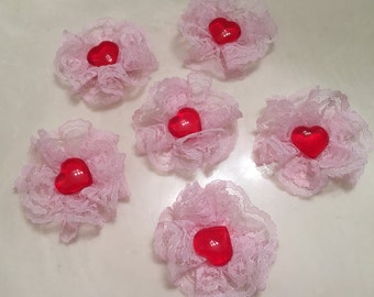 Valentine's Day, Lace Rosette Embellishments, Hearts, Scrapbook, Journal, Love, Decorations, Craft Supplies