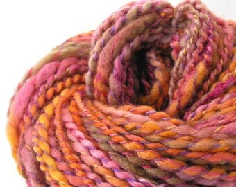 Handspun Yarn Hand Dyed  BFL Wool Bulky Yarn 115 yards Cowl Yarn Chunky Scarf Yarn DIY - Sundara