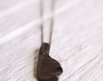Long oxidized Samara necklace-Delicate sterling silver maple seed pendant -Sycamore seed jewelry