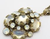 Hollycraft Rhinestone Pendant Necklace Glass Moonstone Jewelry N7183