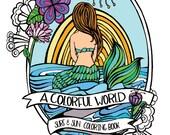 Surf & Sun Adult Coloring Book - Beach Illustrations - Mermaids, Surfer Girls, Underwater Scenes, VW Surf Buses