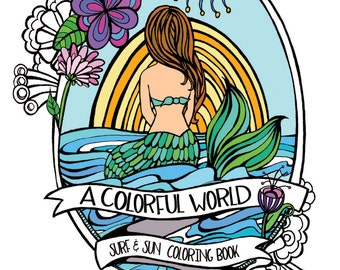 Surf & Sun Adult Coloring Book - Beach Illustrations - Mermaids, Surfer Girls, Underwater Scenes, VW Surf Buses