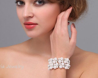 Pearls Wedding Bracelet, Chunky Bridal Bracelet, Multi Strand Bracelet, Swarovski Pearls  rhinestone Wedding Jewelry Brautschmuck T16011502