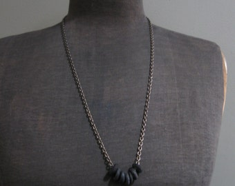 Mens Recycled Glass Bead Necklace - Black and Brass