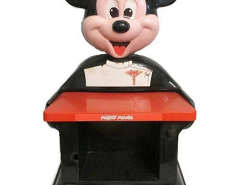 Mickey Mouse doctor toy stand - 1960s to 1970s - 19 inches tall - Storage and exam table