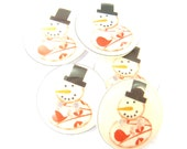 """5 Snowman Buttons.  Christmas Buttons.  Snowman Sewing buttons. 3/4"""" or 20 mm round."""