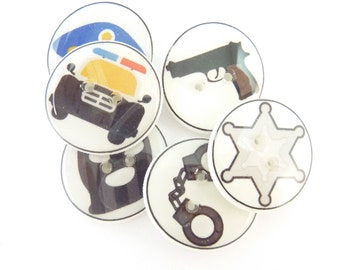 "6 Police or Policeman Buttons. 3/4"" or 20 mm Sewing Buttons. Police Car, Hand Cuffs, Gun, Police Cap."
