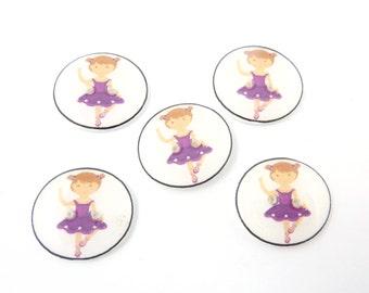 """5 Ballerina Buttons. Ballerina  or Dancer Handmade Sewing Buttons. 3/4"""" or 20 mm."""
