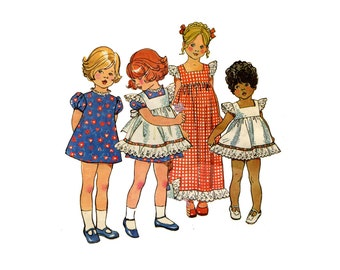 1970s Girls Dress and Pinafore Pattern Square Neck Sun Dress Jumper Puff Sleeve Dress Simplicity 5534 Size 2 Vintage Sewing Pattern