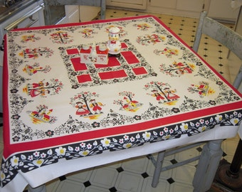 Vintage BRODERIE Tablecloth Apple Picking Boys and Girls