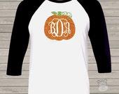 Pumpkin vine monogram glitter sparkly monogrammed pumpkin personalized GIRLS raglan shirt  VMGG