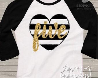 Fifth birthday gold glitter five black white striped heart 5th birthday raglan shirt - sparkly gold glitter birthday shirt
