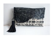SALE Clutch Handbag , Tassel Bag Black leather Purse , Pouch , Gifts for Her, Poetry Text