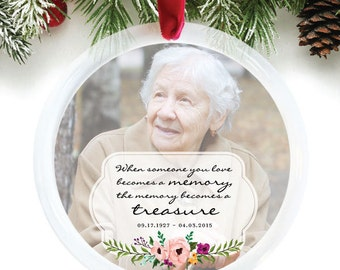 Remembrance Ornament, Memorial Gift, Custom Christmas Ornament, Forever in Our Hearts, In Memory of Loved Ones // C-P55-OR ZZ2