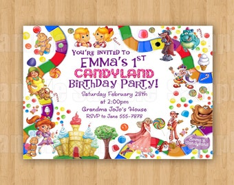 10 - PRINTED Candyland Invitations with Envelopes Candy Theme Girls Boys Birthday Party Personalized